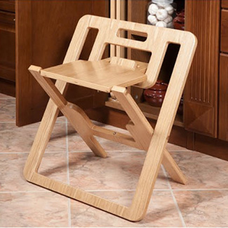 Foldable patented chair that is stored in the kitchen cabinet