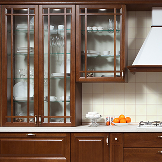 Cabinets with a layout on the glass